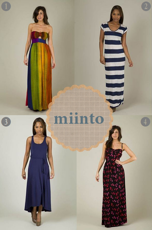 Four gorgeous maxi dresses, perfect for summer from Miinto. I particularly love the rainbow Sugarhill Boutique dress.  Dress images credited to http://www.miinto.co.uk