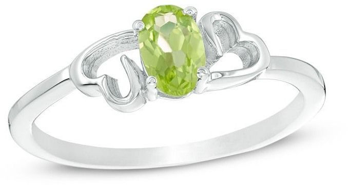 Zales Oval Peridot Heart Sides Ring in Sterling Silver 4a4N9Fq