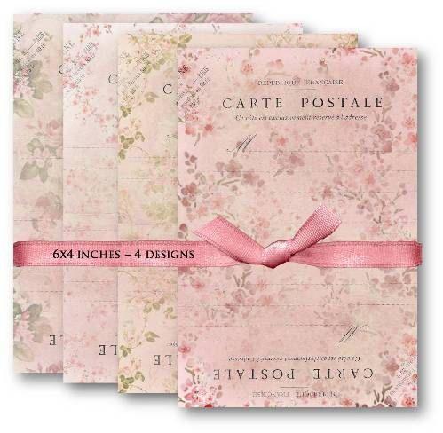 458-Pink Floral Carte Postale Digital Collage Sheet - Digital collage sheets, Vintage Clipart, Scrapbooking Supplies, Mixed Media | Vintage-Papers.com