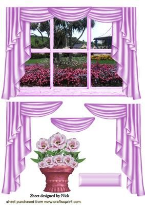 PRETTY IN PINK WINDOW SCENE LOOKING OUT AT GARDEN on Craftsuprint - Add To Basket!