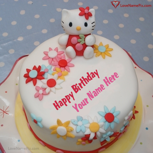 Cute Kitty Birthday Cake For Girls With Name Photo Happy Birthday