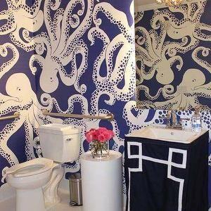 Bathrooms Nautical Bathroom Beach Octopus Wallpaper Blue And White Print