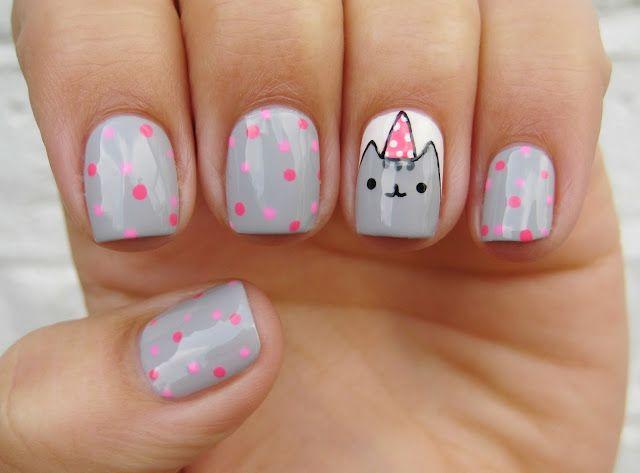 Birthday Pusheen | Kids nail designs, Unicorn nails ...