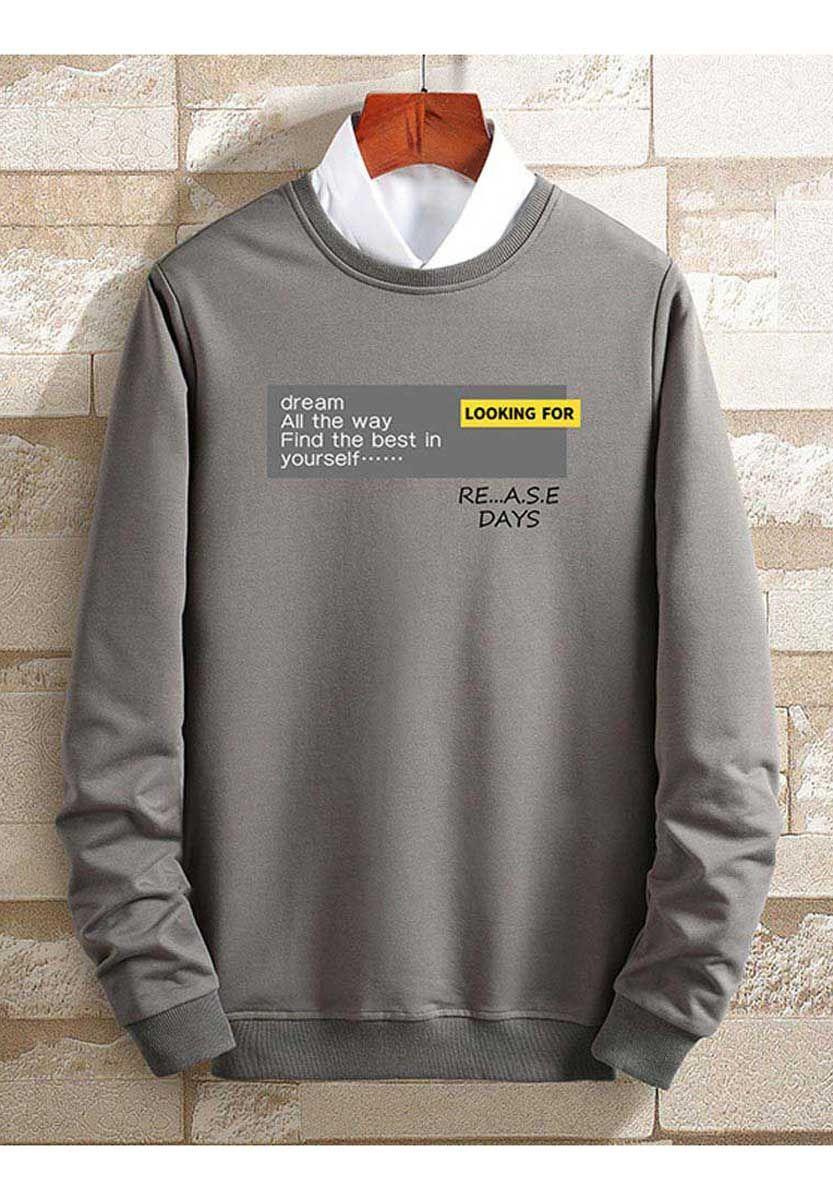 Grey Dream All The Way Round Neck Sweatshirt Long Sleeve Tshirt Men Round Neck Sweatshirts Mens Sweatshirts Hoodie [ 1200 x 833 Pixel ]
