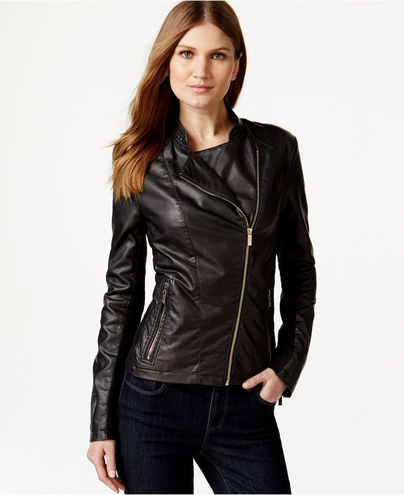 Calvin Klein Faux Leather Moto Jacket Jackets Blazers Women Macy S Blazer Jackets For Women Faux Leather Moto Jacket Calvin [ 1616 x 1320 Pixel ]