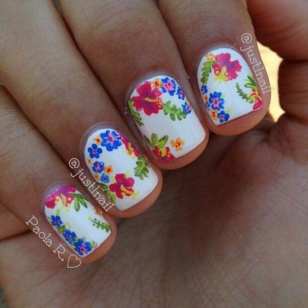 Hibiscus Floral White Colorful Summer Nailart Nailart Nails
