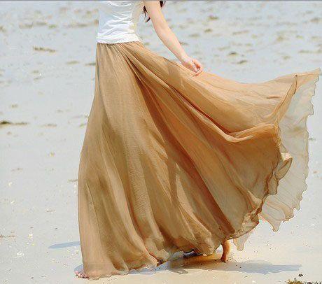 1469b6c317818 Gold nude Chiffon skirt Maxi Skirt Long by fashionclothingshow ...