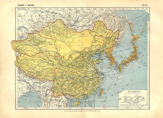 China and Japan Antique Map 1910s Home Decor to by carambas $20 00