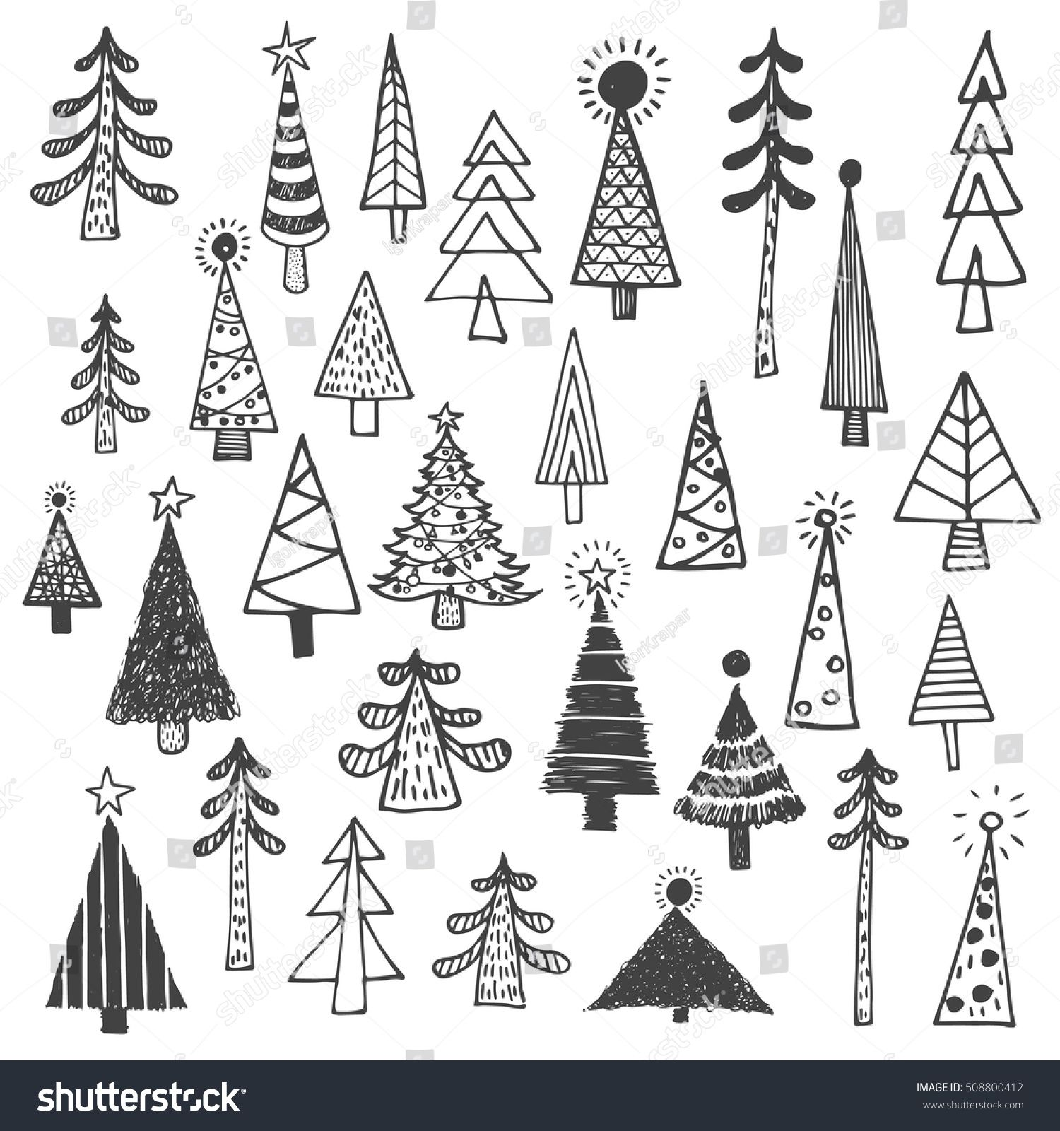 Christmas tree white spruce fir fir tree simple drawing set