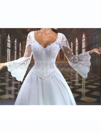 Basque bell sleeves v back applique lace duchess satin for Bell sleeve wedding dress