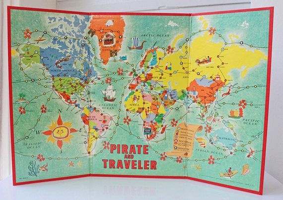 Vintage Pirate and Traveler Game World Geography Game Milton Bradley