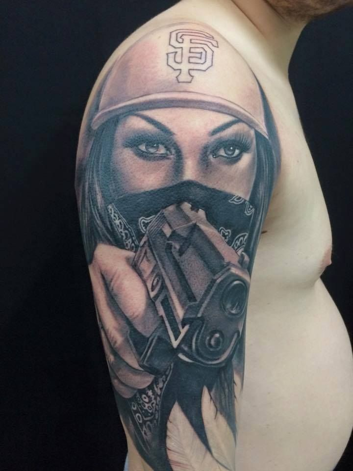182cca5a23241 Guillermo Pokaluk, Realistic Tattoo, Gun Tattoo, Tattoo Art, Black and Grey  Tattoo