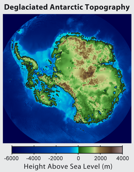 Topographic map of Antarctica after removing the ice sheet and