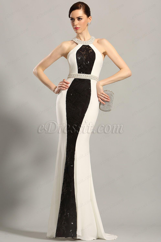 Stylish beaded halter neck evening gown formal dress c
