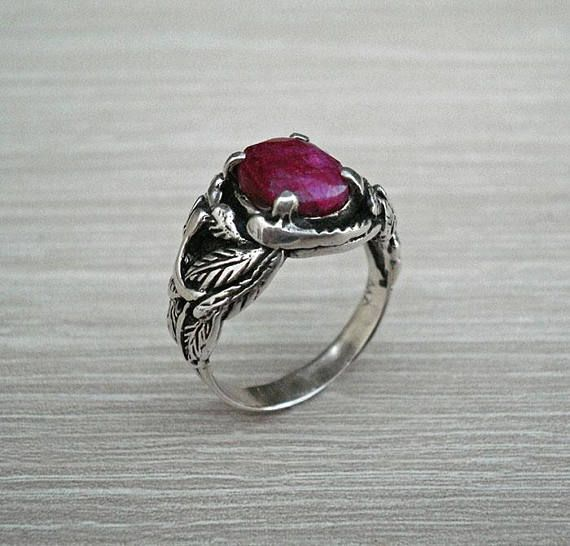 Red Ruby Ring Solid Sterling Silver Victorian Knight Art Deco Ring 925 Silver Ring Wedding Ring