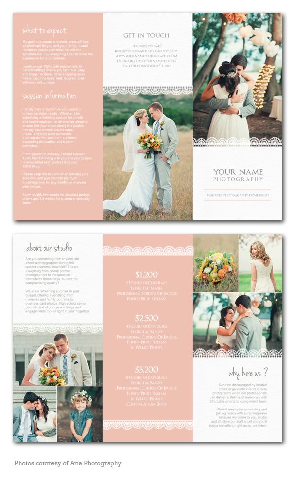 Photography Pricing Guide  Sell Sheet Template  Photography