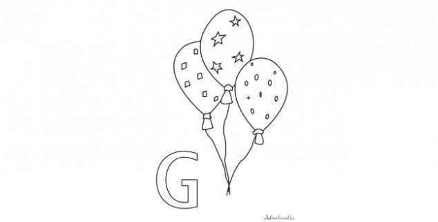 Los globos para colorear la letra G | Hojas para colorear