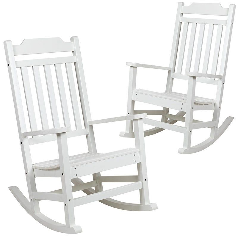 """fex Set of 2 Winston Faux Wood All Weather Rocking Chair White 42""""H White Outdoor Seating"""