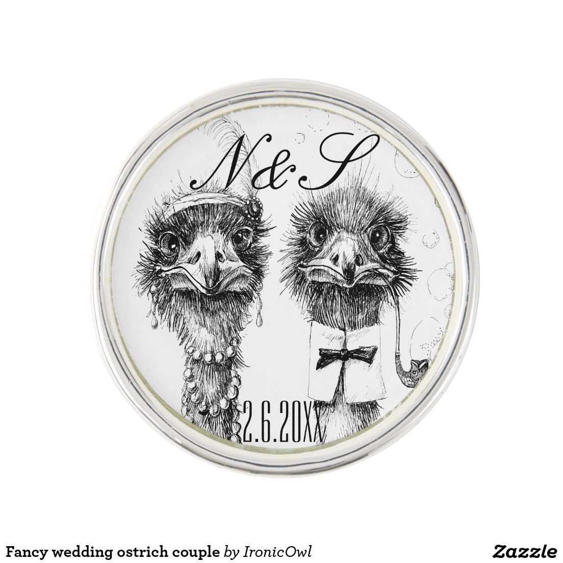 Fancy wedding ostrich couple pin (With images