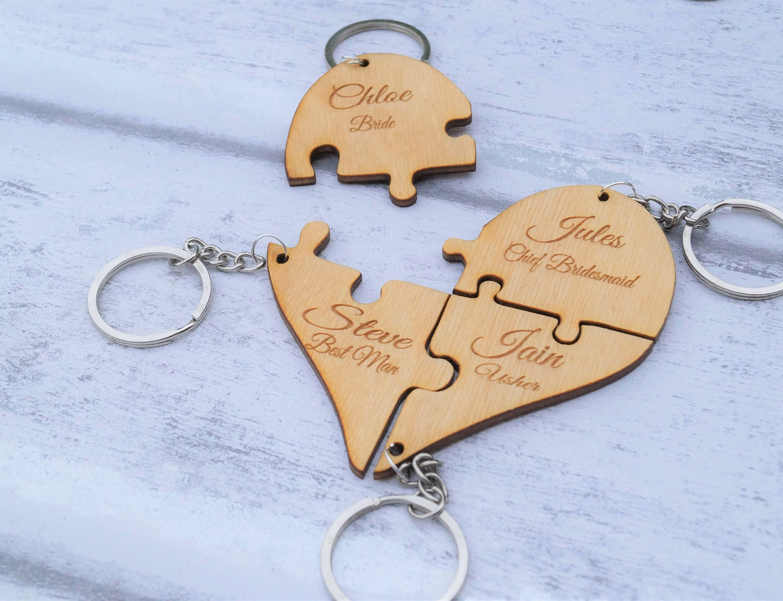 Wooden Bridal Keyring Wedding Favour Party Gift Personalised Jigsaw