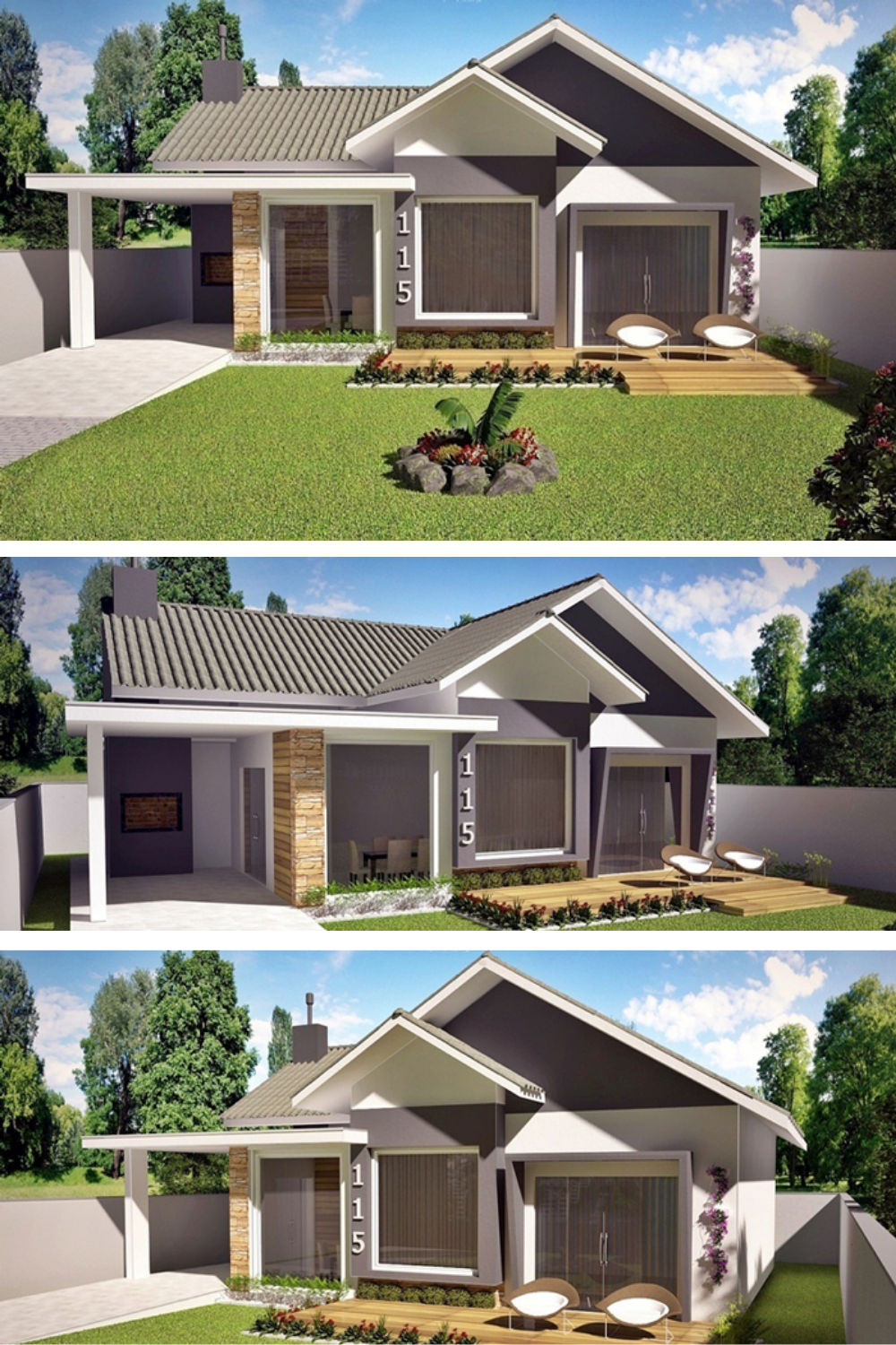 American Style 3 Bedroom House Plan Bungalow House Design Facade House House Design