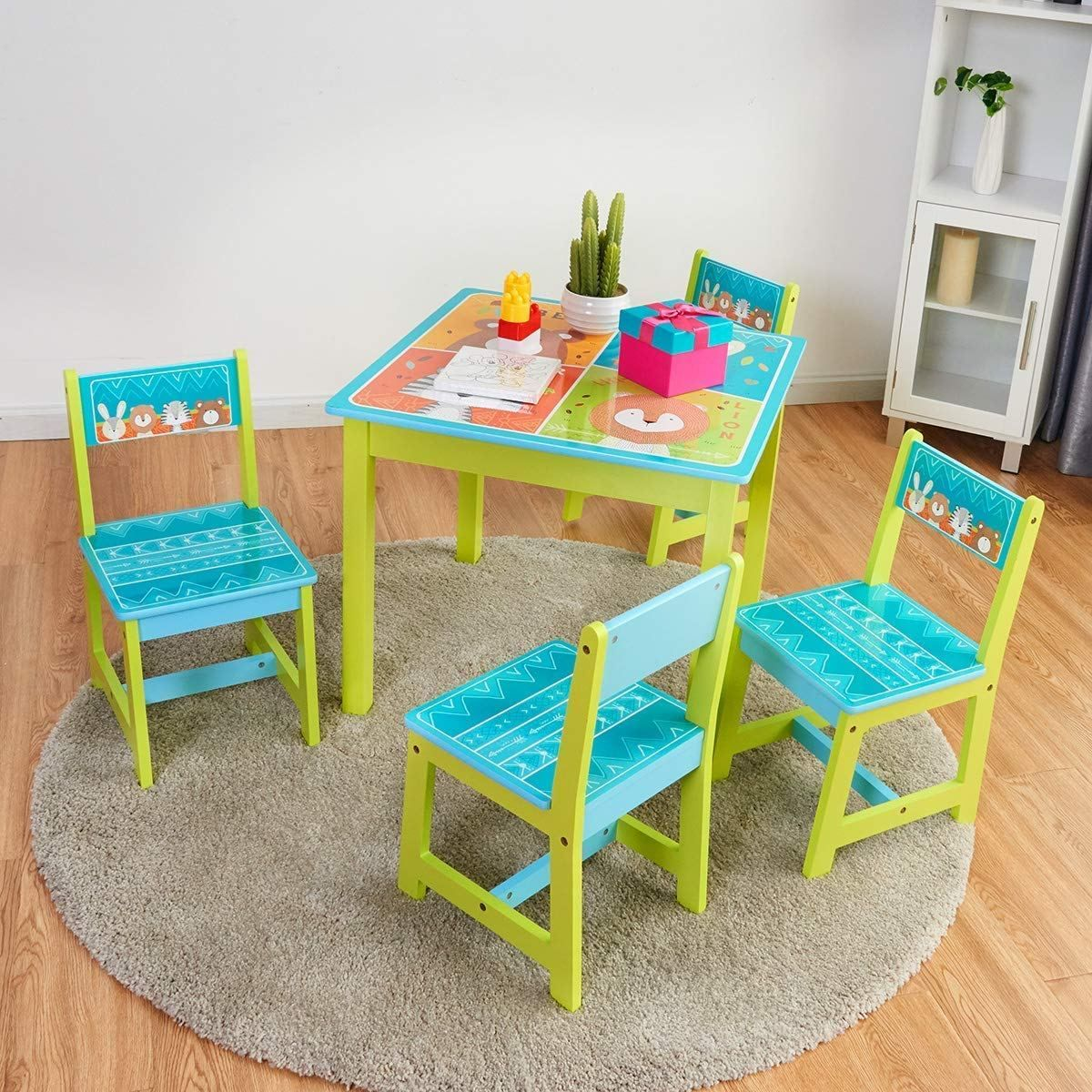 Baby Joy Kids Table And 4 Chairs Set Wooden Mdf Desk For Studying Playing Dining Indoors Outdoors Activity Toddler Baby Gift Desk Furniture Cartoon Pattern Kids Table Set Kid