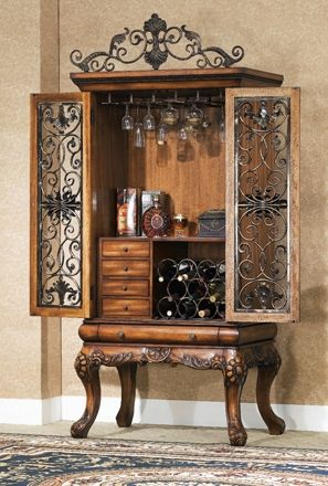 Luxury Chinese Carved Bar Cabinet