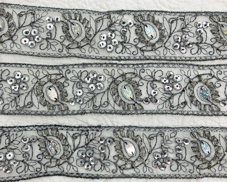 Vintage Rich Silver Metallic Embroidered Silver Organdy Ribbon Etsy In 2020 Metallic Silver Vintage Ribbon Antique Lace