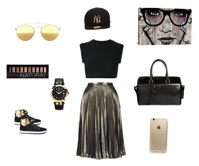 """""""Gold & Black a match made in heaven!!!"""" by erikastrange on Polyvore featuring adidas Originals, Topshop, Yves Saint Laurent, Forever 21, Rifle Paper Co, iCanvas, Love Moschino, Versace, New Era and Mykita"""