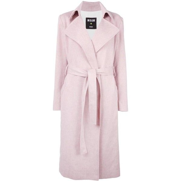 MSGM belted wrap coat (12.585 ARS) ❤ liked on Polyvore featuring outerwear, coats, pink, belted wrap coat, wrap coat, msgm coat, msgm and pink coat