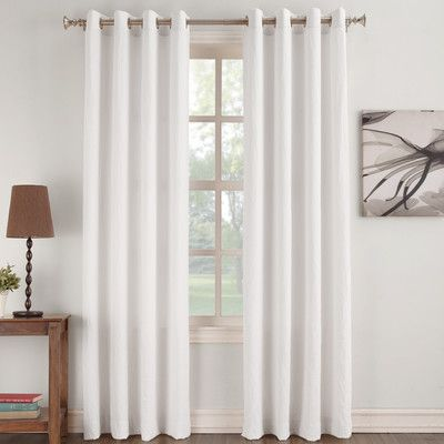 No 918 Antonia Semi Opaque Thermal Single Curtain Panel Color White Size 50 W X 84 L White Paneling Curtains Panel Curtains