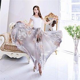 Women's Beach Inelastic Thin Maxi Print Skirts