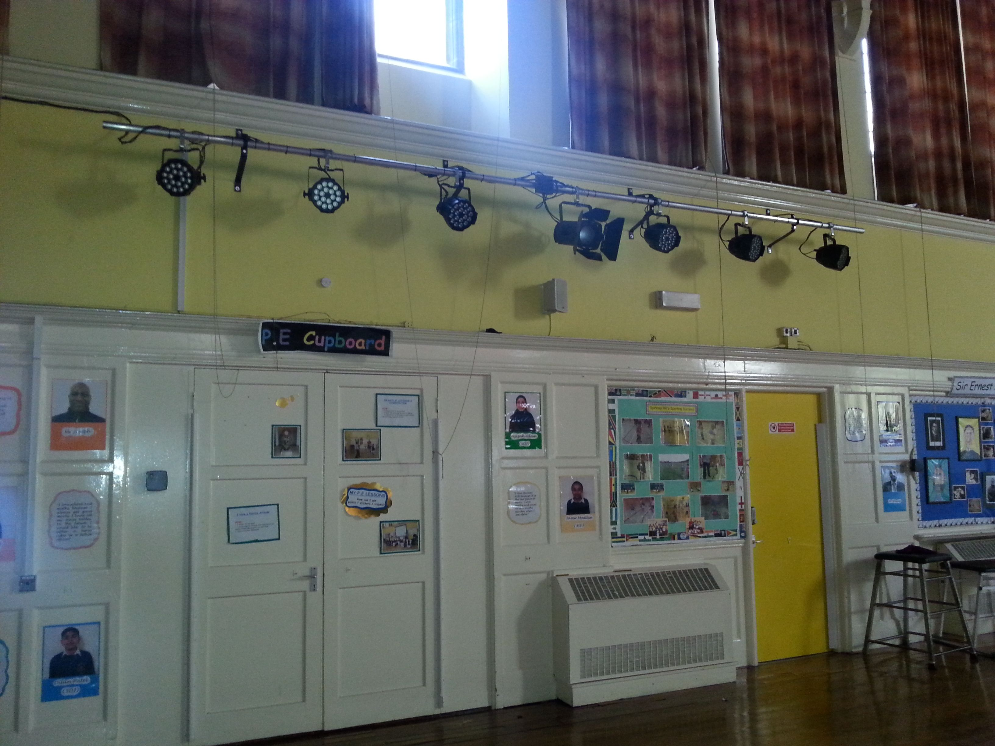 Wall Mounted Lighting Bar At The Back Of A School Hall With 6 X Pro Led Par Fixtures And 1 X Super Bright Led F Bar Lighting Wall Mounted Light Stage Lighting
