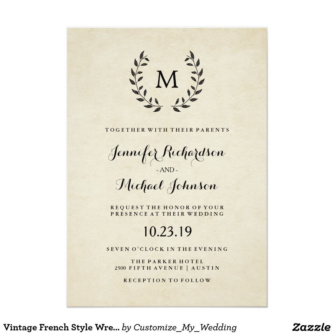 Vintage French Style Wreath And Monogram Wedding Invitation Stuff