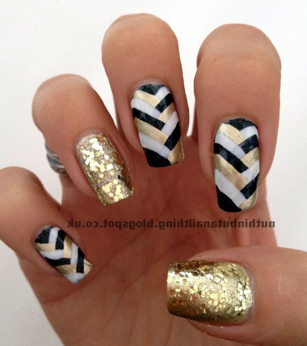 Gold Black White Gel Nails- HireAbility