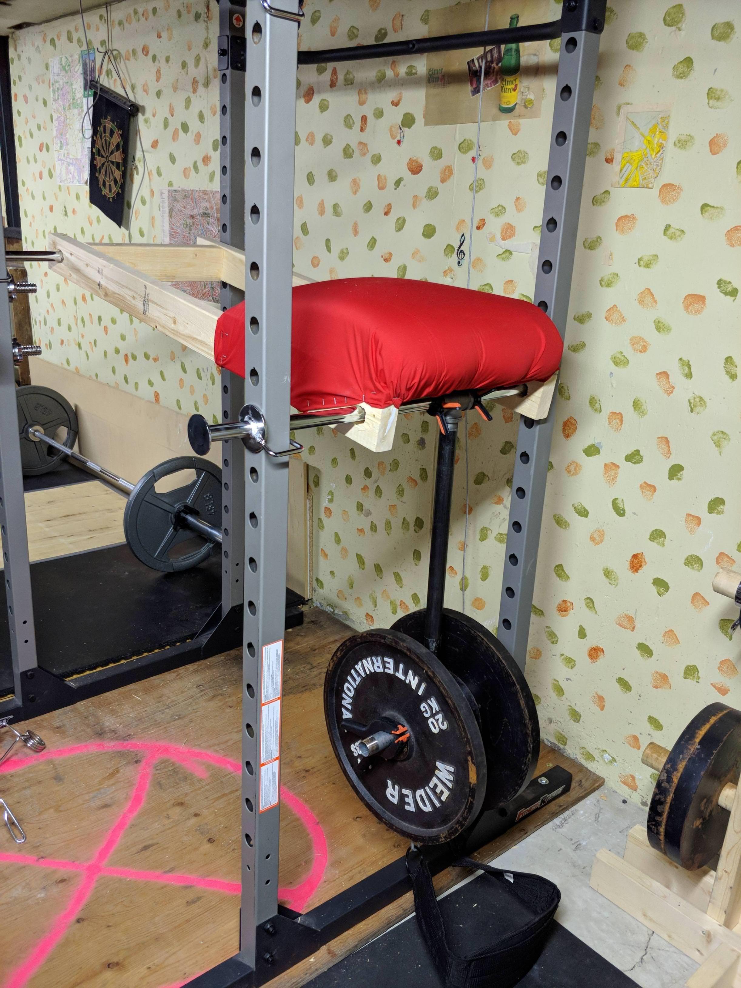 Simple diy rack mounted reverse hyper home gym diy rack