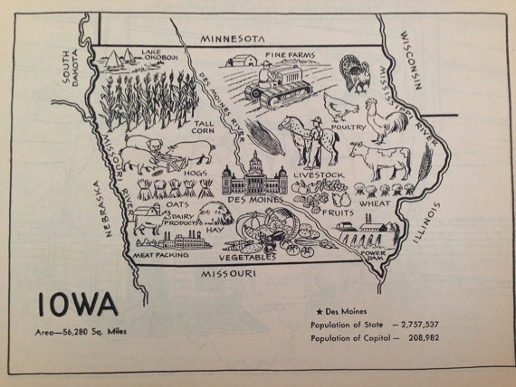 Iowa Map Print Vintage Map Art Old Map Wall Art 1950s IA State