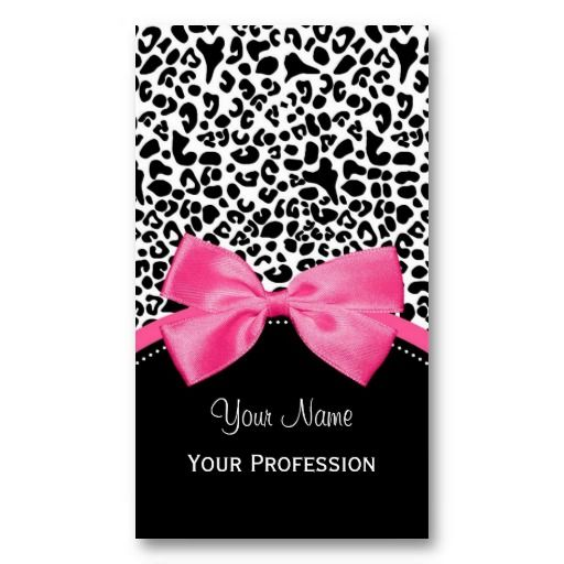 Chic fashion leopard print with hot pink ribbon vertical business chic fashion leopard print with hot pink ribbon vertical business cards httpwww reheart Images