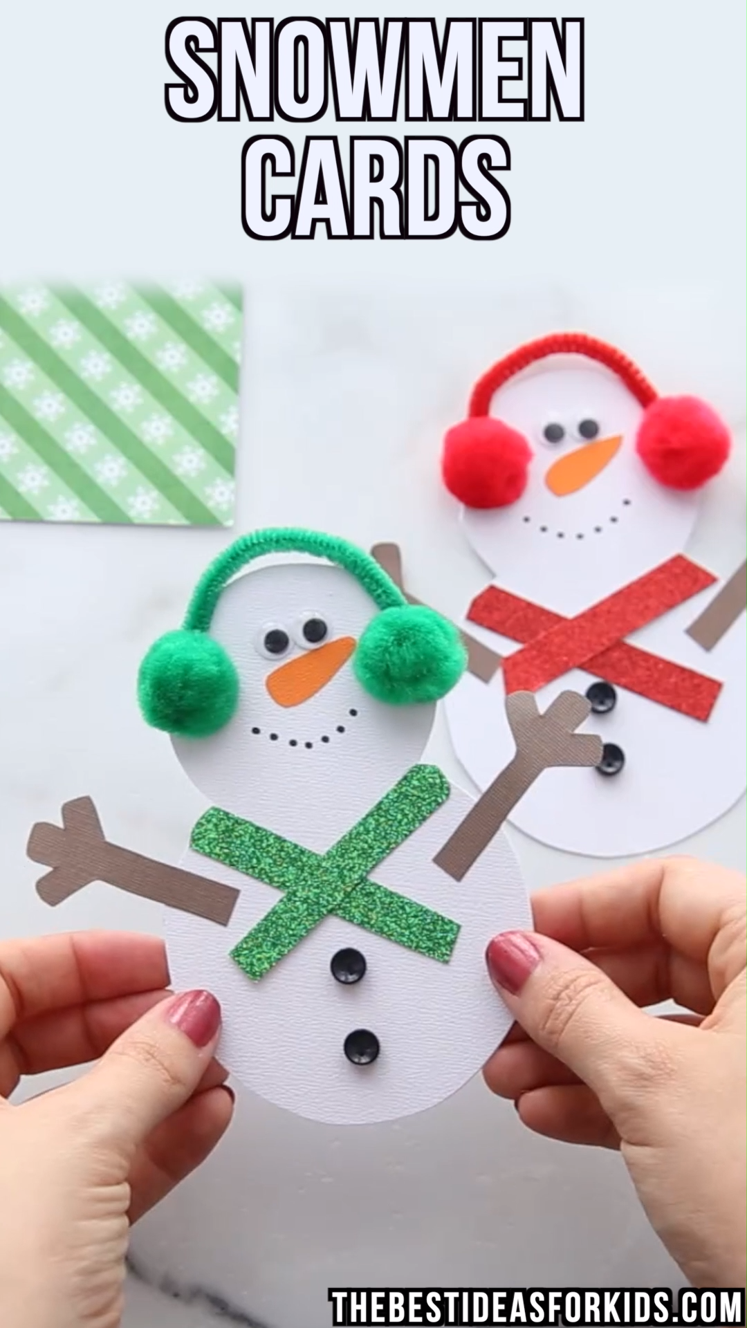 Snowman cards for Christmas - such a cute Snowman Christmas card - kids can easily make these with the free printable template.