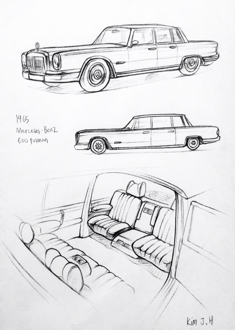 Car drawing 151113 1965 Mercedes-Benz Pullman Prisma on paper. Kim ...