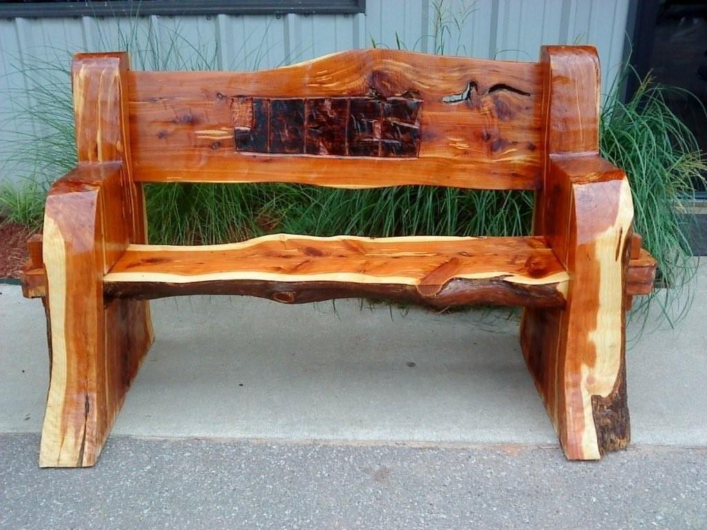 Carved Rustic Cedar Bench Rustic Log Furniture Rustic Outdoor Benches Rustic Outdoor Furniture