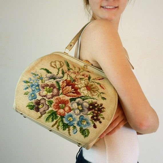 $62.00 # http://www.etsy.com/listing/65206678/vintage-1960s-tapestry-bag Love it!