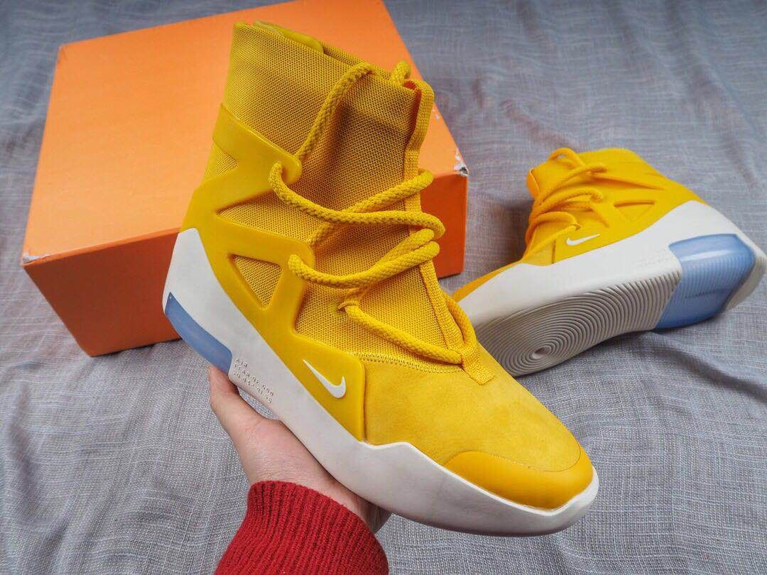 Sur Mañana Escalera  First Look Nike Air Fear of God 1 in Yellow-KicksVogue | Sneakers men  fashion, Sneakers, Nike