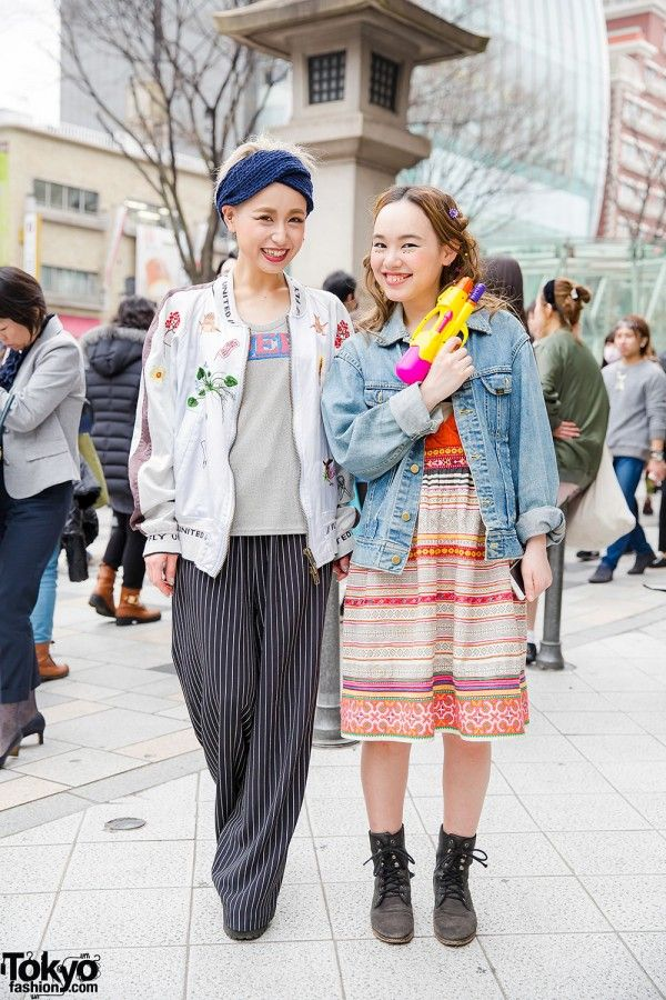 May 2015: Mikako is pictured to the left in pants. She works at Wall Harajuku (inside of LaForet), which is also her favorite shop. Her jacket is by Bernhard Willhelm, worn with a Dresscamp top, a resale dress, and UNIF lace-up boots.  Hikachin is the girl pictured to the right in a dress. Her denim jacket and top are vintage and her lace up boots are from her favorite shop, Free People.