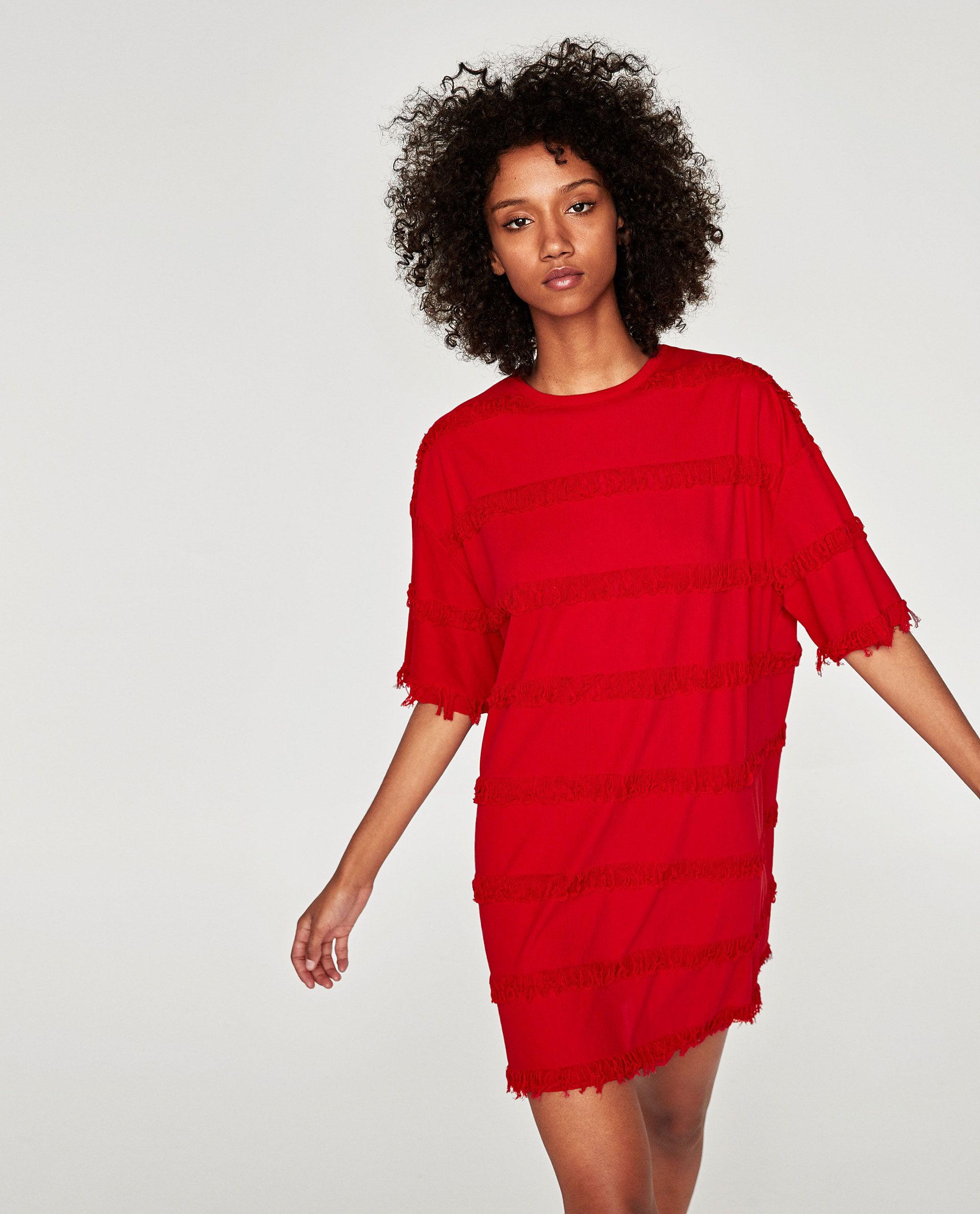 Oversized dress with fringe available in more colours the red