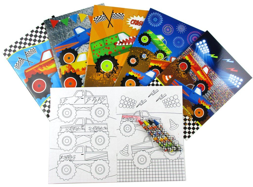 Monster Truck Coloring Books With Crayons Party Favors Set Of 6 Or 12 In 2020 Monster Trucks Birthday Party Monster Truck Party Favors Monster Truck Party