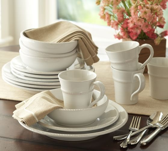 Gabriella 16-Piece Dinnerware Set. Pottery BarnWhite ... & Thereu0027s nothing more essential to a first home than some white ...