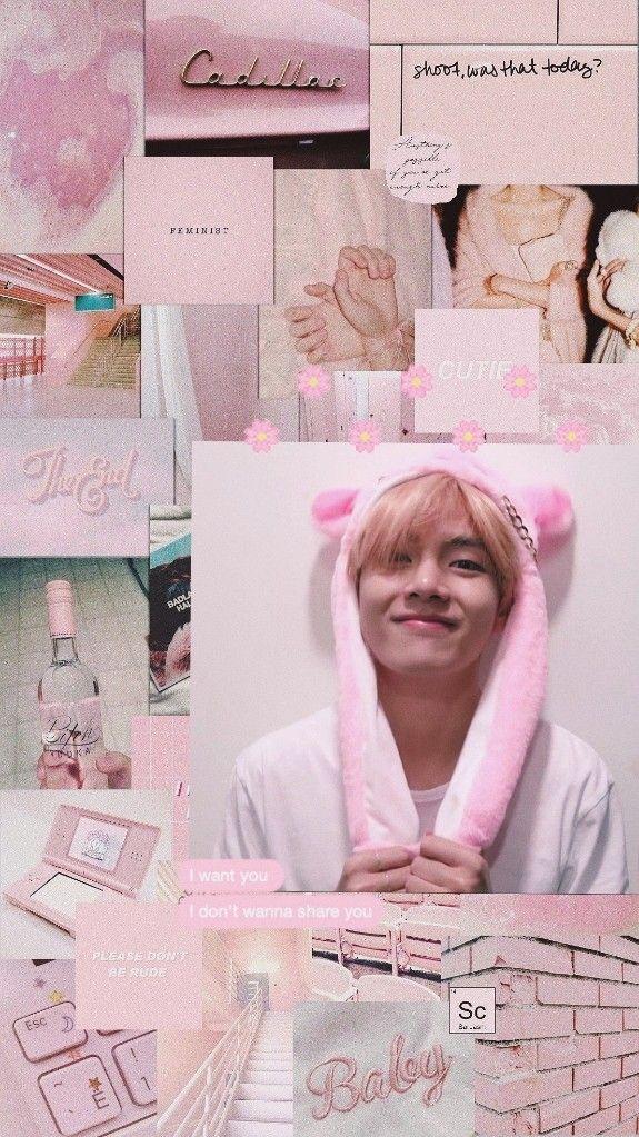 By Me Wallpaper Bts Aesthetic Pink Kimtaehyung Taetae Fotografi Kreatif Latar Belakang Fotografi