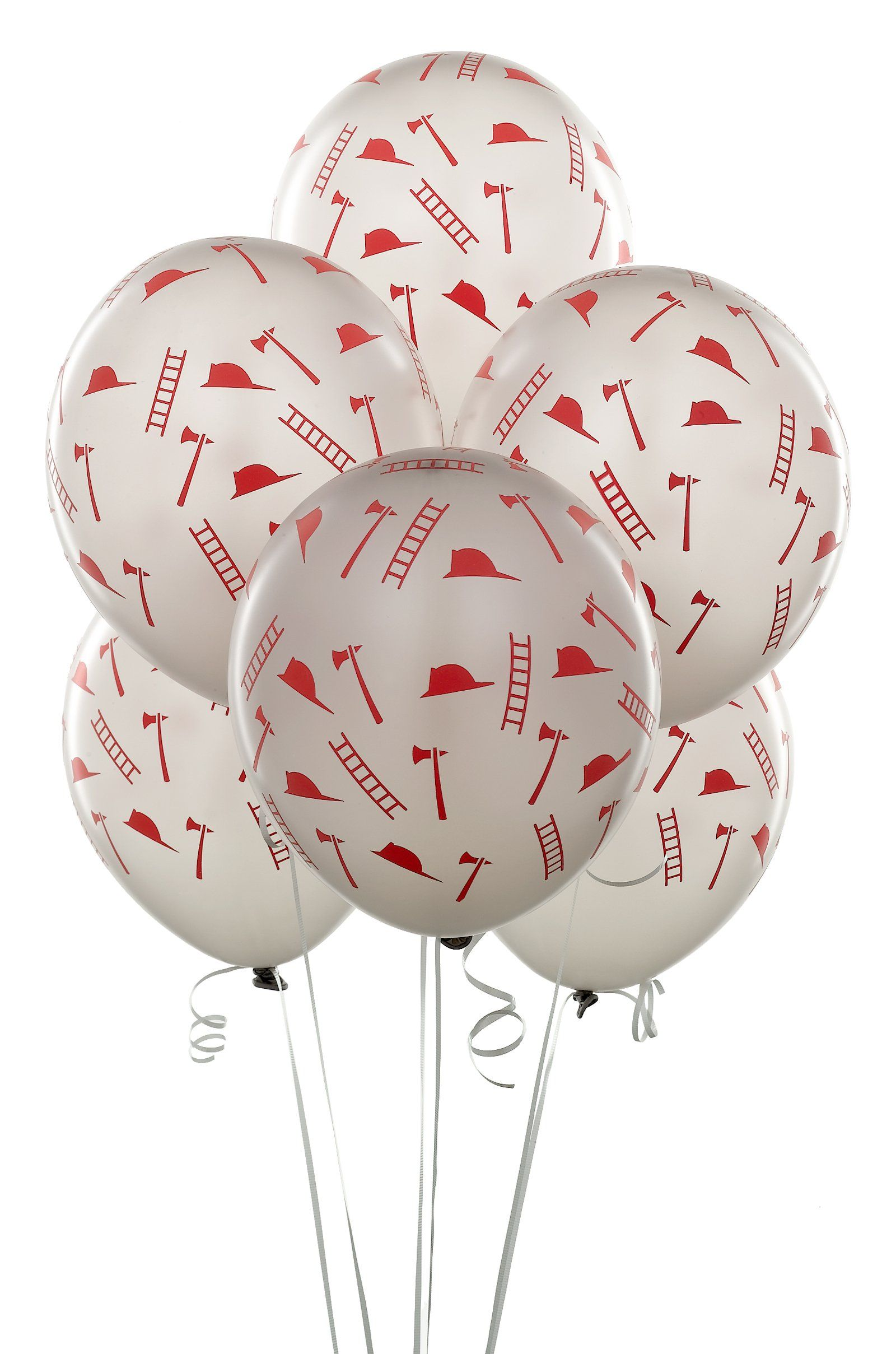 Silver Balloons With Red Firefighter Symbols Isaacs Birthday