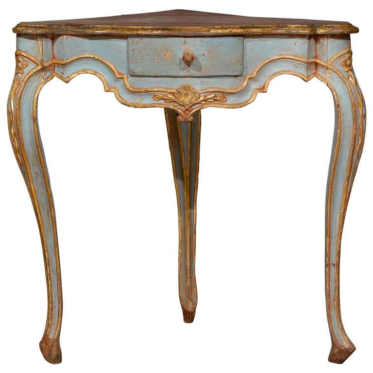 Painted Blue Corner Table With Cabriole Legs